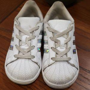 Kids White Shell Toe Adidas Size 9k
